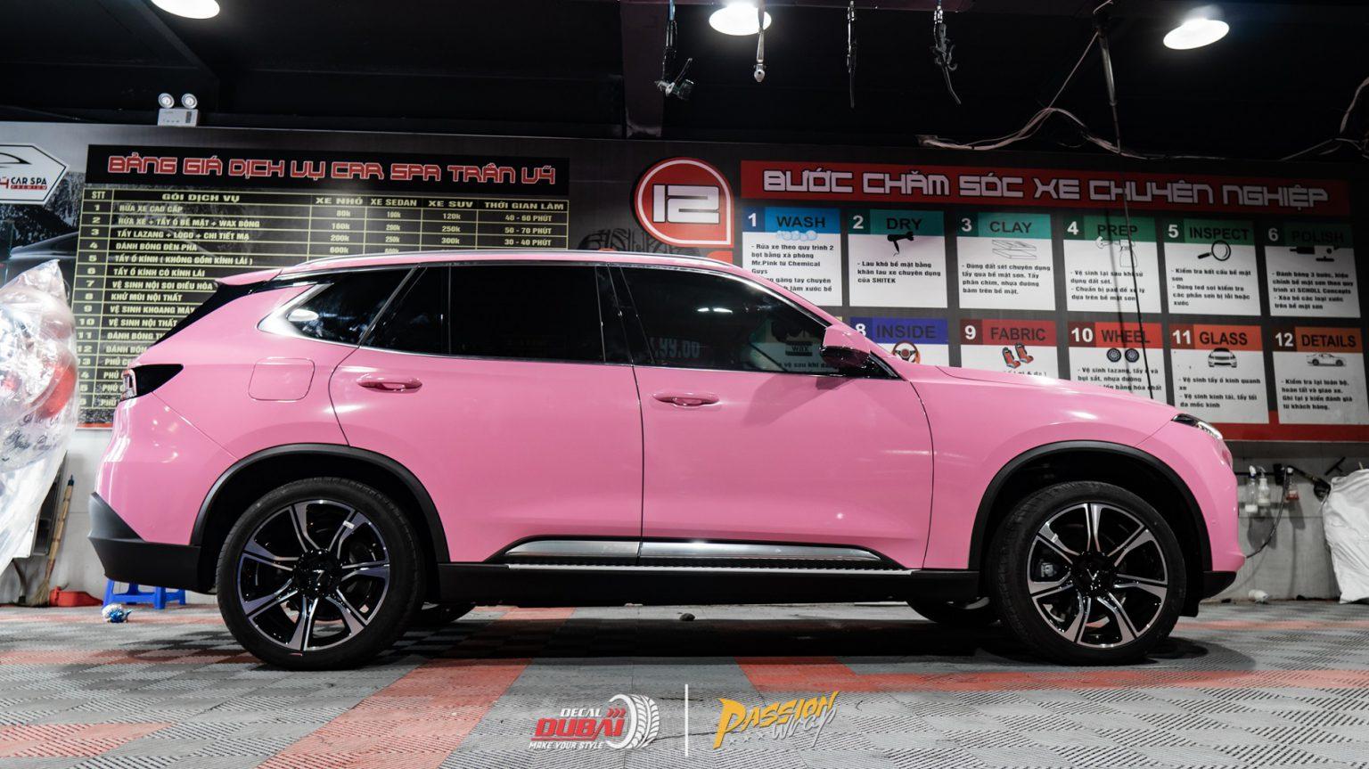 Dán đổi màu xe vinfast lux sa hồng