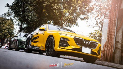 dán đổi màu xe vinfast lux a 3d vàng đen 3