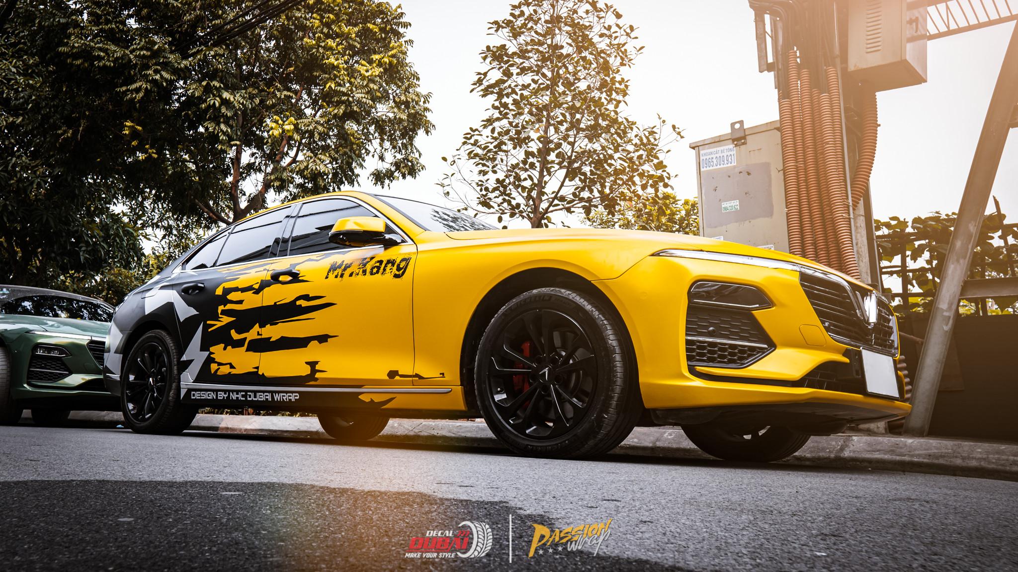 dán đổi màu xe vinfast lux a 3d vàng đen