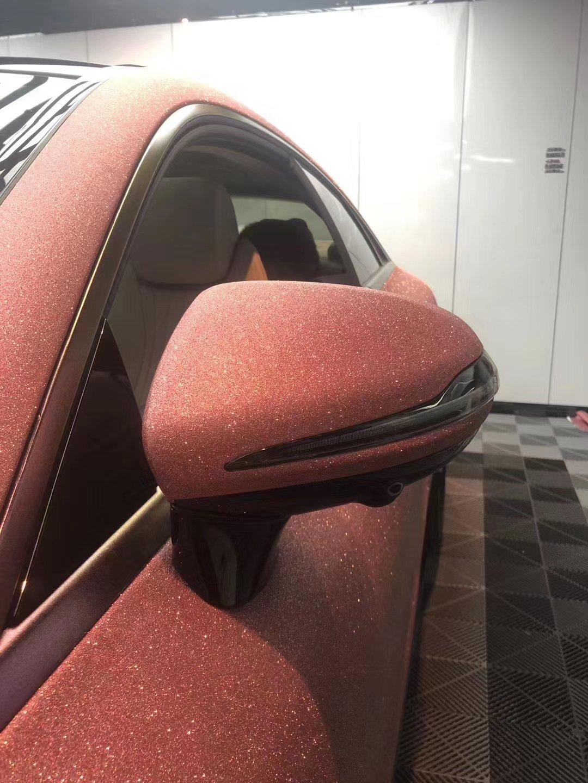 Dán Đổi Màu Xe Mercedes Hồng Cam Ánh Nhũ