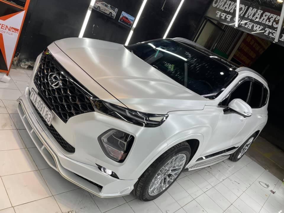 Dán Đổi Màu Xe Hyundai Santafe Trắng