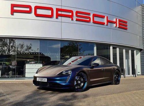 Dán Đổi Màu Xe Porsche Tím Ánh Xanh