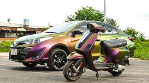Dán Đổi Màu Xe Toyota Vios Xanh Lá