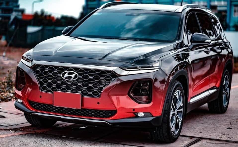 Dán Đổi Màu Xe Hyundai Santafe Style Đỏ Đen