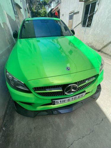 Dán Đổi Màu Xe Mercedes C300 Xanh Chuyển Sắc