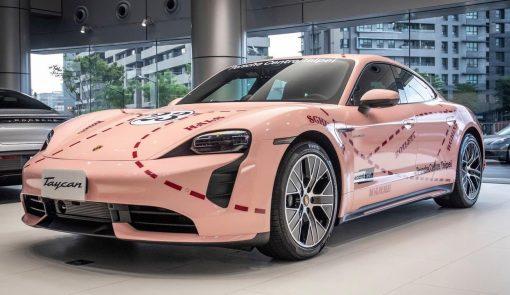 Dán Đổi Màu Xe Porsche Taycan Hồng