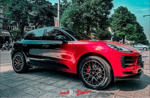 Dán Đổi Màu Xe Porsche Macan GTS Stuye Đỏ Đen