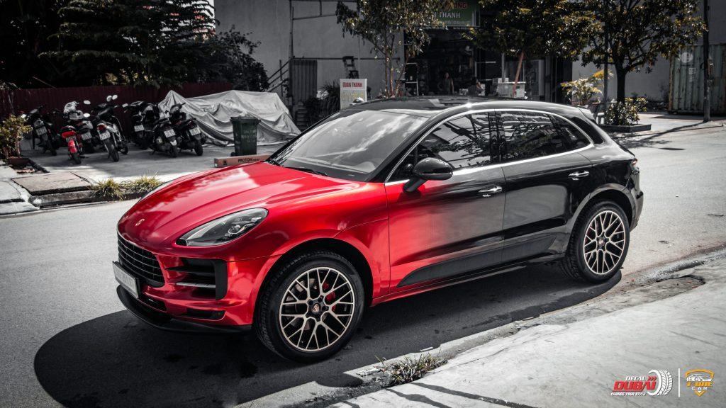 Dán Đổi Màu Xe Porsche Macan GTS Style Đỏ Đen